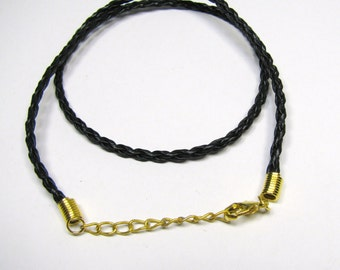 """Black Braided Faux Leather Pendant Cord 19"""", Lobster Clasp, Adjustable Length 18""""-19"""", Necklace Charm Pendant Cord"""