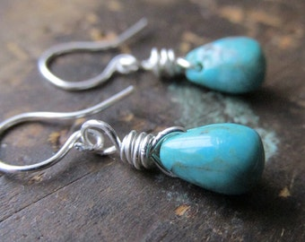 Before the Storm | SMALL Turquoise drop earrings | turquoise drops | ss wire | sterling silver earwires | December birthstone | leverbacks