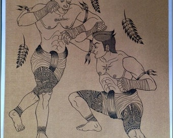 Thai traditional art of Thai boxing by ( Bang Khun giant catch monkey ) printing on sepia paper