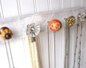 Jewelry Organizer / Wall Hooks / Necklace Display in Orange and Gold