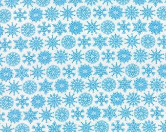 Folk Art Holiday Blue Snowflakes by Gina Martin - 1/2 metre cut off the bolt