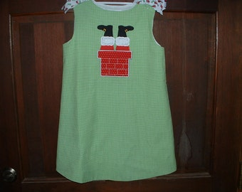 Green & White Check Appliqued Jumper---Santa stuck in Chimney--Size 6-7---Merry Christmas!!