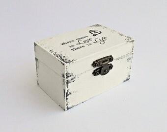 FREE SHIPPING, Wedding antique white ring bearer box / pillow, Wooden ring bearer box, Pillow alternative, Wedding keepsake box, Card box
