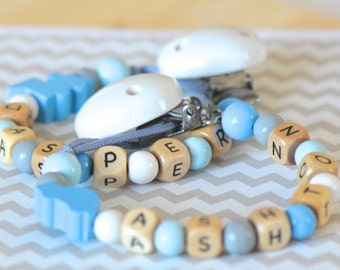 Twin baby gift, twin boy, blue pacifier clip, personalized name pacifier clip, beaded pacifier clip, boy pacifier clip, train nursery