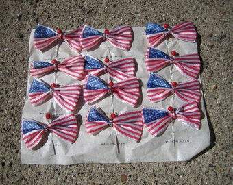 12 Vintage Flag Pins Notions Millinery Made in Japan