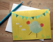 CARD: Hip, Hip, Hurray Bird with Pink Pom-Poms and Blue Banner Bunting - Congratulations, Blank Card