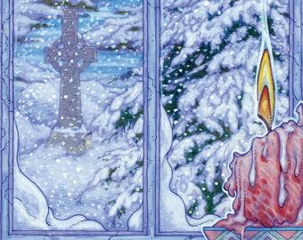 "Ancient Irish Landscape NIGHTLIGHT 16x11"". Celtic, Ireland, Castle, Winter, Snow, Ruins."