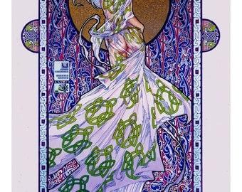 "Celtic Irish Fantasy Art Print Emer, Wife of Cúchulainn 8x11""."