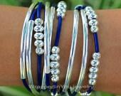 Pick SIZE / COLOR - SIlver Tubes LEATHER Triple Wrap Boho Bangle Bracelet - Leather Wrap w/ Silver Beads Accents - Adjustable Chain  - 769