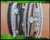 Boho LEATHER Chain Wrap Bracelet - Bohemian Gypsy Distressed Leather Triple Wrap w/ Tibetan Style Silver Flower and Accents - USA - 168