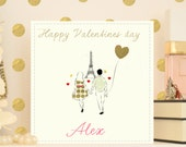 """Personalised or Personalized Valentine's day Card """"Je t'aime Paris"""""""