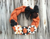 Burlap fall/ halloween BOO Wreath w/ burlap flowers and bow