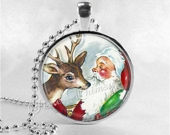 SANTA CLAUS Necklace, Retro Christmas, Reindeer, Deer, Santa, Santa Claus, Christmas Necklace, Christmas Jewelry, Vintage Christmas