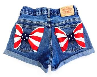 Levis American Flag Shorts - High Waisted Cutoffs Denim Cheeky - All Sizes xs s m l xl xxl