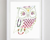 Owl Always Love You Floral Watercolor Art Print