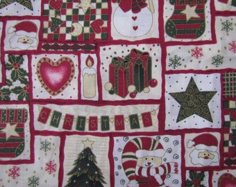 1 2/3 yard -Tis the Season Christmas Fabric     destash 212
