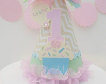 Lil' Cupcake Cutie - Ivory Chevron, Pastel Pink, Mint, Pastel Aqua and Silver - Birthday Party Hat - Personalized