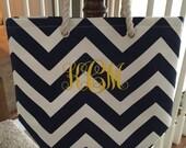 Monogrammed Tote, Beach Bag Chevron Diaper Bag, Beach Bag, Book Bag, Tote Bag
