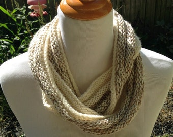 Hand Knit infinity scarf or Cowl in Cream and Brown Wool and Mohair