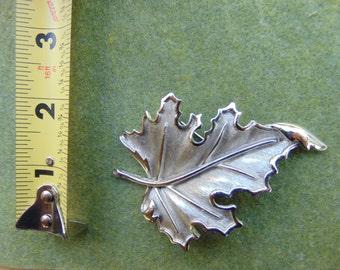 Vintage Silver Tone Trifari Leaf Brooch