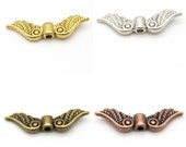 10 Angel Wing Beads- silver, gold, bronze, or copper - Nickel Free Tibetan Silver Alloy- DIY Jewelry & Crafts