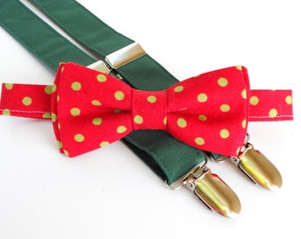 Newborn christmas photo prop, newborn christmas outfit, christmas bow tie and suspenders, toddler boy christmas outfit, mens holiday bow tie