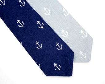 Toddler neck tie, boys blue tie, nautical tie for boys, toddler gray tie, little boy tie, boys navy tie, baby neck tie, boys anchor tie