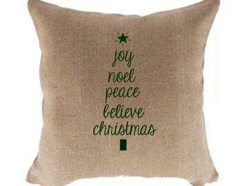 Burlap Christmas Pillow Joy Noel Peace Believe Christmas