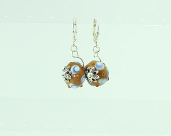 Blue & brown lampwork earrings
