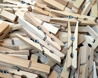 30 Large Wooden Spring Clothespins - 2.75 Inch Wood Clothespins - Craft Gift Wrap Packaging Party Supplies