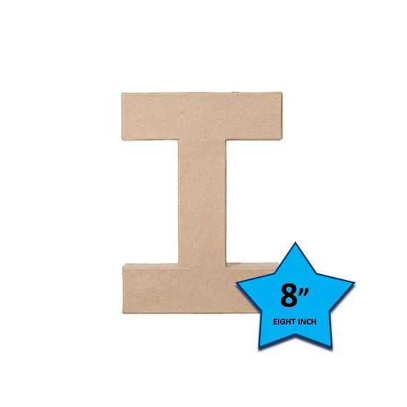 Paper Mache Cardboard Letters 8 Inch - Letter I - Paper Craft Party Decor Supplies