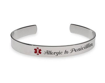 Engraved Stainless Steel Medical Bangle ID Bracelet Personalized Custom FREE Engraving Customized