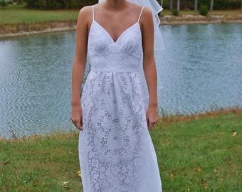 Wedding Gown- BOHEMIAN Wedding Dress - LACE Wedding Gown- Backless - White Wedding Dress - Outdoor - Beach Wedding Dress- BOHO Wedding Gown