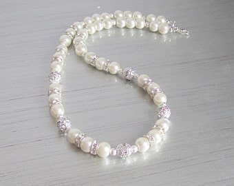 Ivory Pearl Necklace, Crystal and Pearl Bridal Jewellery, Ivory Bridesmaid, Pearl Bridal Necklace, Wedding Sets