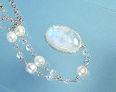 Moonstone Pendant with Pearls, Crystal Quartz, Silver Chain