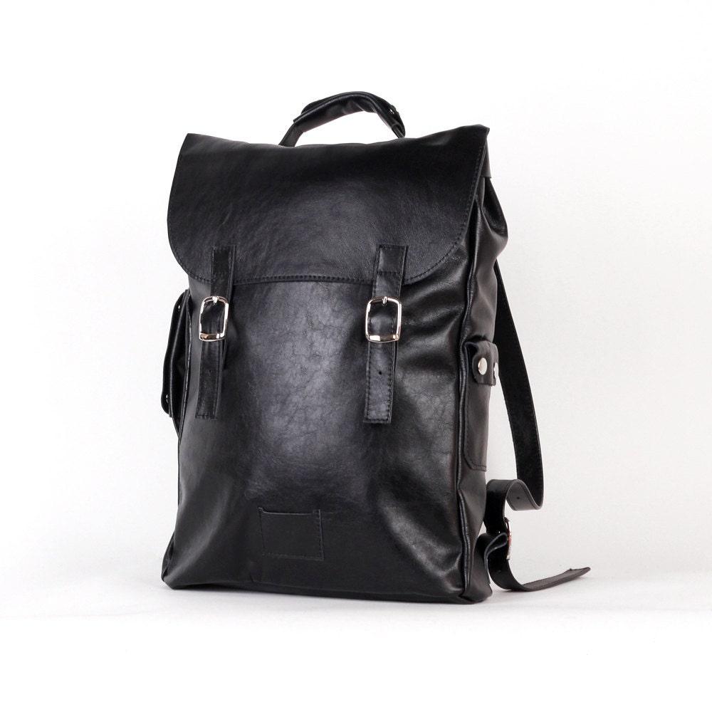 Black large leather backpack rucksack / To order / Black