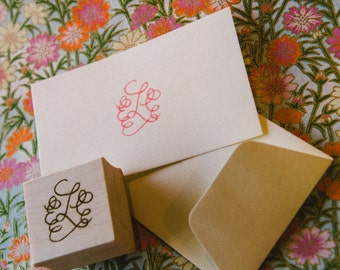 Custom Calligraphy Monogram Stamp - Hand Lettered for Stamping Stationery, Wedding Logo, Place Cards, Favors, Gift Enclosure Cards