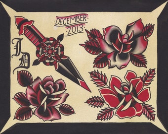 Original Watercolor Traditional Tattoo Flash Painting of Roses and Dagger