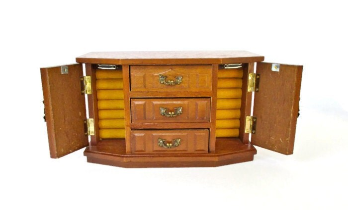 Vintage jewelry music box solid wood jewelry chest with wind for Solid wood jewelry chest