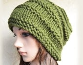 Slouchy beanie - MILITARY/Olive GREEN (Or Choose Color) - ribbed style - slouch - chunky handmade hat - Unisex men women