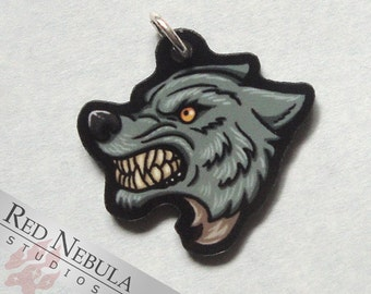 Werewolf Charm, Acrylic Charm, Horror Accessory, Werewolf Accessories, Werewolf Necklace or Bracelet, Snarling Wolf Charm, Lycanthrope Charm