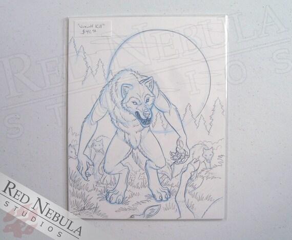 8 5 x11 caccia lupi mannari disegno originale matita disegno for Lupo disegno a matita