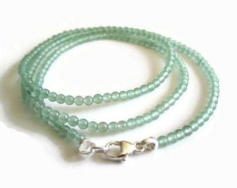 Dainty Green Aventurine & Sterling Silver Necklace