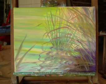 """Small painting, """"Soft Waves"""", water, reflections, green, aqua, zen, river, meditation, personal space"""