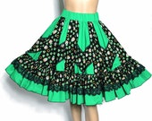 Vintage 1970s Skirt Full Circle  New Look Cotton Retro Rockabilly St. Patricks Cup Cake Garden Party Swing Jive Mad Men Dress Square Dance