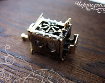 Coffee grinder steampunk brass jewelry findings L1490(1), pendant mechanism. Designed and made by Anna Bronze
