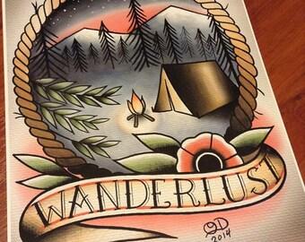 Wanderlust Tattoo Art print