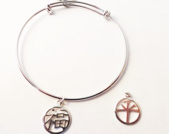 Bangle- Silver-Adjustable Bracelet with Happiness or Peace Symbol - BS014