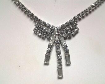 Signed Kramer vintage crystal rhinestone necklace choker costume jewelry very clear stone stunning