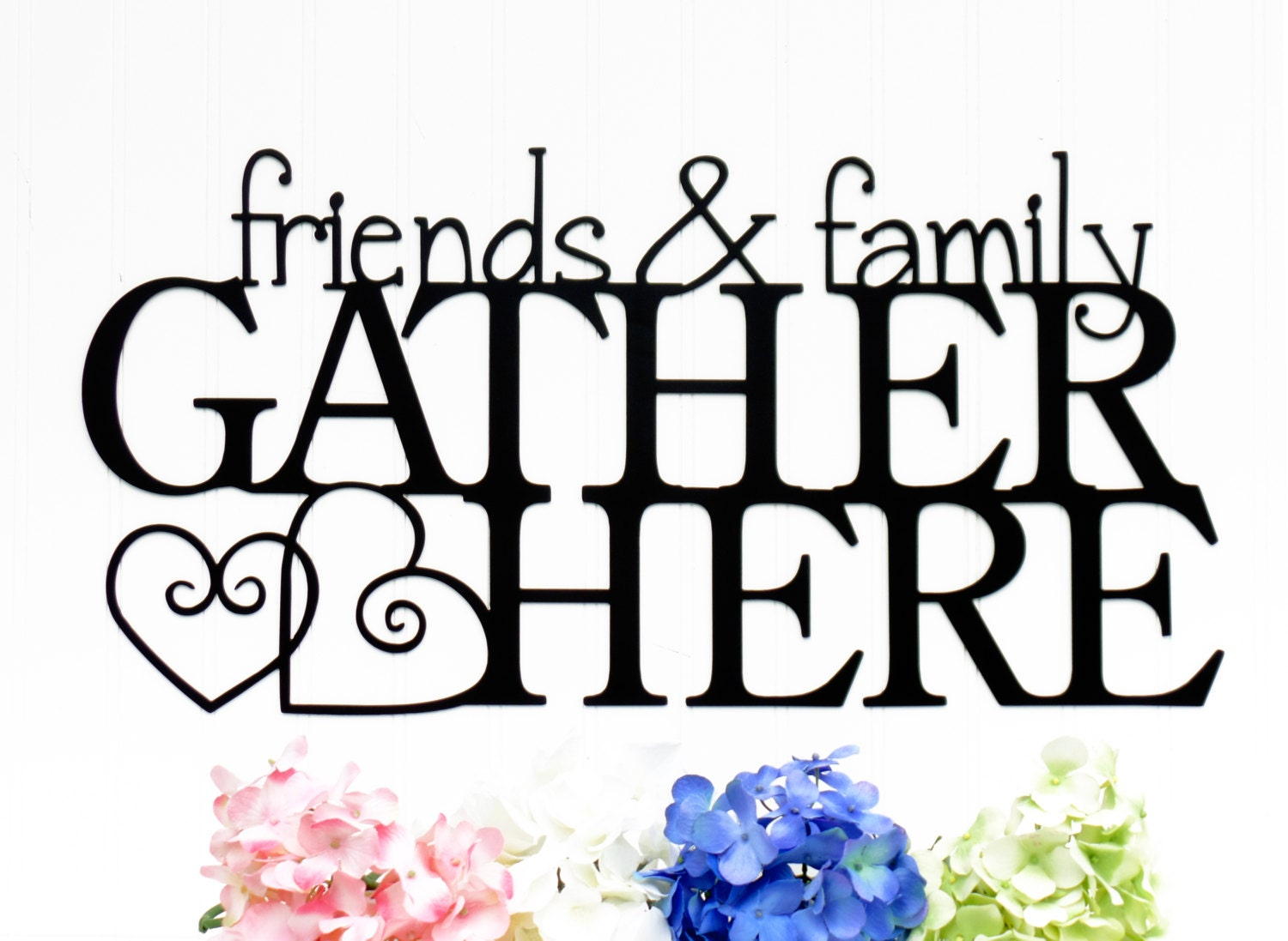 Black Iron Wall Decor Metal Gather Sign Etsy